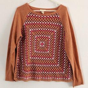 Sundance Granny Square Crochet Wool Blend Sweater